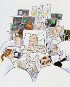 Intensive Prints - Caricature Of An Intensive Care Ward Print by David Gifford