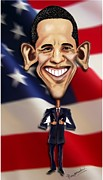 \\\\\\\\\\\\ Obama 2012\\\\\\\\\\\\ Art Framed Prints - Caricature of Obama Framed Print by Joseph Karaparambil