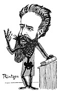 Wilhelm Posters - Caricature Of Roentgen And X-rays Poster by