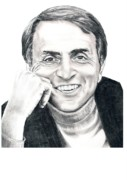 Famous People Drawings Framed Prints - Carl Sagan Framed Print by Murphy Elliott