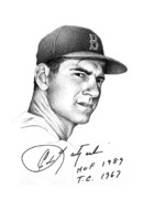 Red Sox Drawings - Carl Yastrzemski by Matthew Riedl