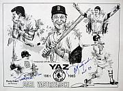 Hall Drawings Posters - Carl Yastrzemski Retirement Tribute Newspaper Poster Poster by Dave Olsen