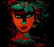 Black Background Mixed Media - Carla by Natalie Holland