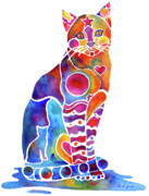 Kitten Painting Prints - Carley Cat Print by Jo Lynch