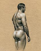 Naked Drawings Framed Prints - Carlos Framed Print by Chris  Lopez