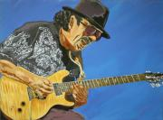 Acryllic  Paintings - Carlos Santana-Magical Musica by Bill Manson
