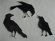 Talking Mixed Media Prints - Carls Crows Print by Betty Pieper