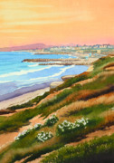 Surfing Paintings - Carlsbad Coastline by Mary Helmreich