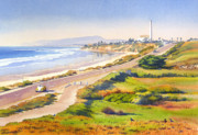 Pacific Ocean Painting Posters - Carlsbad Rt 101 Poster by Mary Helmreich