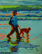 Thomas Bertram Poole Metal Prints - Carmel Beach Sunset Dog Walk Metal Print by Thomas Bertram POOLE