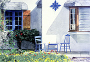 Nostalgia Paintings - Carmel Cottage with Orange by David Lloyd Glover
