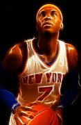 Knicks Metal Prints - Carmelo Anthony - New York Nicks - Basketball - Mello Metal Print by Lee Dos Santos
