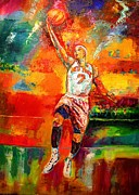 Knicks Painting Prints - Carmelo Anthony New York Knicks Print by Leland Castro