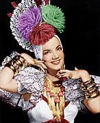 Gold Necklace Photo Posters - Carmen Miranda, Ca. 1940s Poster by Everett