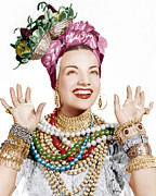 Basket Head Framed Prints - Carmen Miranda, Ca. Late 1940s Framed Print by Everett