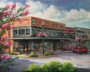 Store Fronts Painting Prints - Carmens Corner Print by Virginia Potter