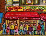Streetscenes Paintings - Carnegies Deli by Carole Spandau