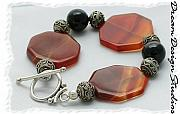 Sterling Silver Jewelry - Carnelian and Onyx Bracelet by Donna  Phitides