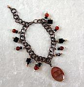 Music Jewelry - Carnelian and Onyx Bracelet by Janet Carroll