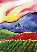 Wine Country Watercolor Paintings - Carneros Sunset by Amelia Hunter