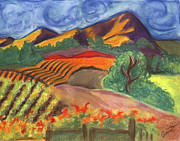 Napa Pastels Posters - Carneros Vineyard Fall Poster by Amelia Hunter