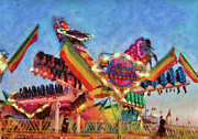Screaming Posters - Carnival - A most colorful ride Poster by Mike Savad