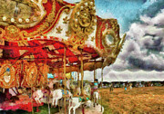 Party Birthday Party Metal Prints - Carnival - The Merry-go-round Metal Print by Mike Savad
