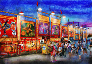 Night Scenes Posters - Carnival - World of Wonders Poster by Mike Savad