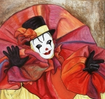 Smiling Painting Prints - Carnival Clown Print by Patty Vicknair