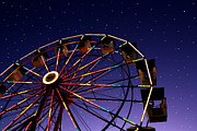 Ferris Wheel Night Photography Framed Prints - Carnival Ferris Wheel Against Starry Night Sky Framed Print by Heather Cate Photography