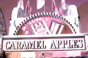 Pink Photographs Of Carnival And Festivals Ferris Wheels Prints - Carnival Festival Fun Fair Caramel Apples Stand Print by Kathy Fornal