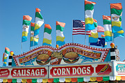 Pink Photographs Of Carnival And Festivals Ferris Wheels Prints - Carnival Festival Fun Fair Sausage Corn Dog Stand Print by Kathy Fornal