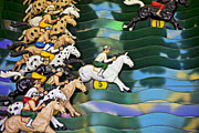 Race Metal Prints - Carnival horse race game Metal Print by Garry Gay