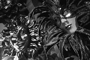 Venice Masks Prints - Carnival Masks In Black And White Print by Todd Gipstein