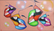 Kisses Paintings - Carnival. Melting kisses. by Tautvydas Davainis