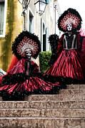 Venice Masks Prints - Carnival Models on Stairs Print by John Rizzuto