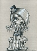 Gothic Drawings Prints - Carnival Queen Print by Sour Taffy