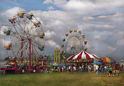 Blue White Prints - Carnival - Traveling Carnival Print by Mike Savad