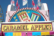 Pink Photographs Of Carnival And Festivals Ferris Wheels Prints - Carnivals Fairs and Festival - Caramel Apples Sign Print by Kathy Fornal