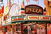 Summer Festival Art Prints - Carnivals Fairs and Festival Art - Pizza Stand  Print by Kathy Fornal