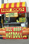 Summer Festival Art Prints - Carnivals Fairs and Festivals - Hot Dogs Stand Print by Kathy Fornal