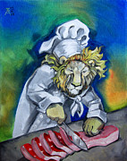 Meat Paintings - Carnivorous Chef by Ellen Marcus