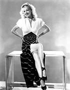 Slit Framed Prints - Carole Landis, Mid 1940s Framed Print by Everett