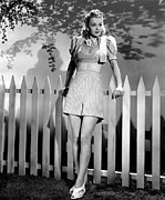 Bare Midriff Prints - Carole Landis Modeling Striped Shorts Print by Everett