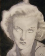 Los Angeles Drawings Metal Prints - Carole Lombard Metal Print by Crispin  Delgado