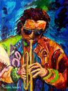 Trumpetman Framed Prints - Carole Spandau Paints Miles Davis And Other Hot Jazz Portraits For You Framed Print by Carole Spandau