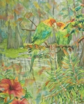 Silk Paintings - Carolina Parakeets by Deborah Younglao