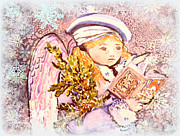 Christ Child Prints - Caroling Angel Print by Mindy Newman