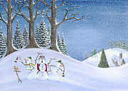 Winter Prints Painting Posters - Caroling Snowmen Poster by Thomas Griffin