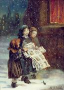 Christmas Card Painting Acrylic Prints - Carols for Sale  Acrylic Print by Augustus Edward Mulready